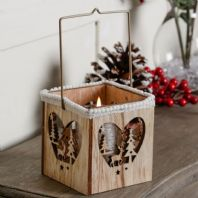 Rustic Wooden Shabby Chic Styled Candle Lantern